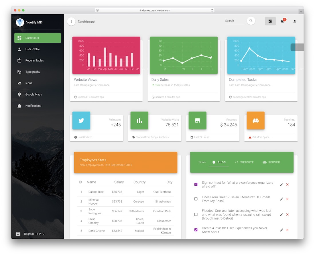 vuetify material free dashboard templates