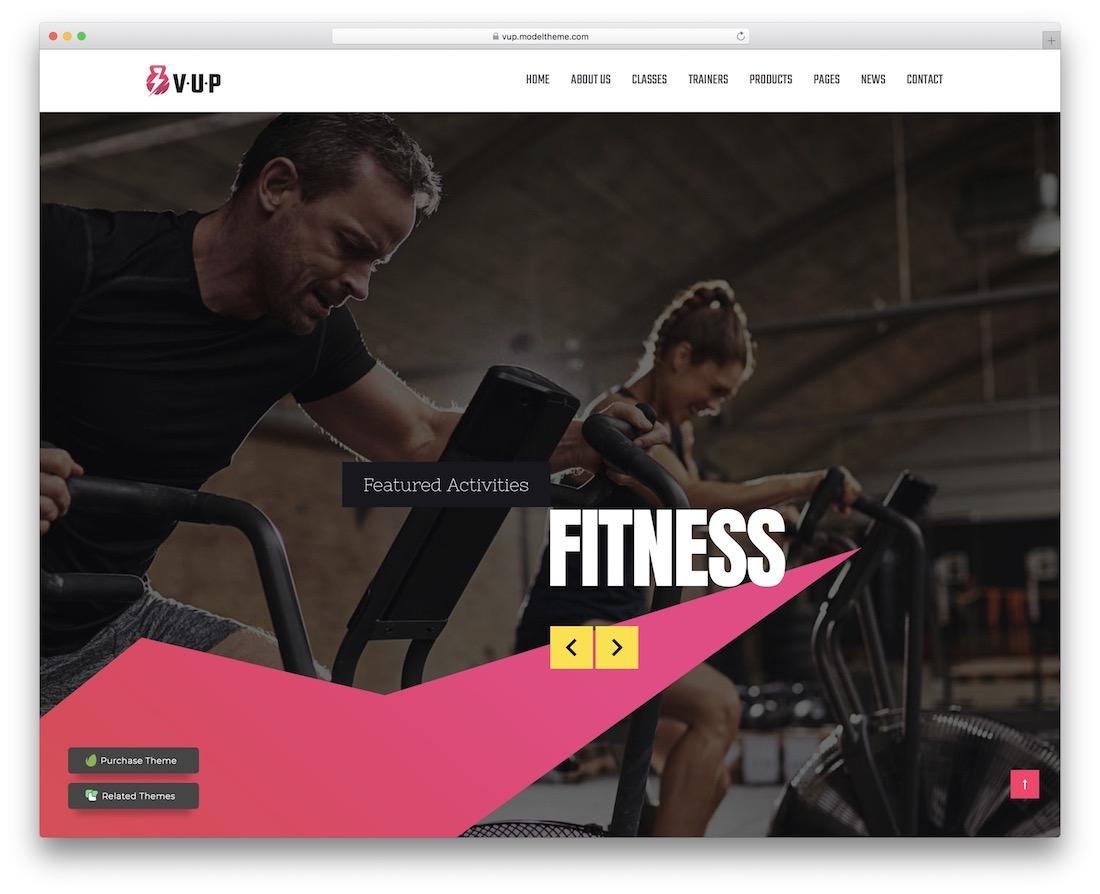 vup wordpress fitness theme