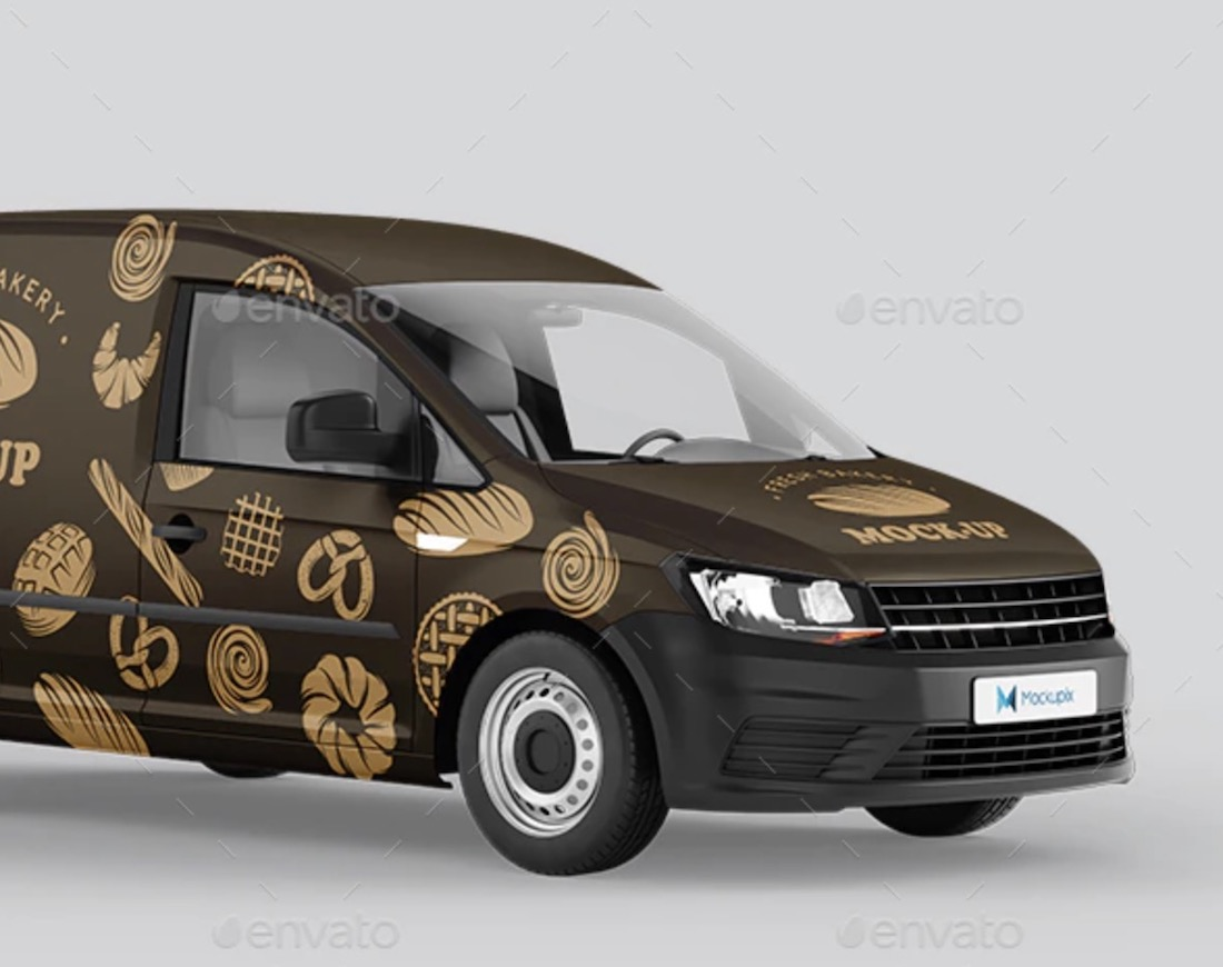 vw caddy van mockup