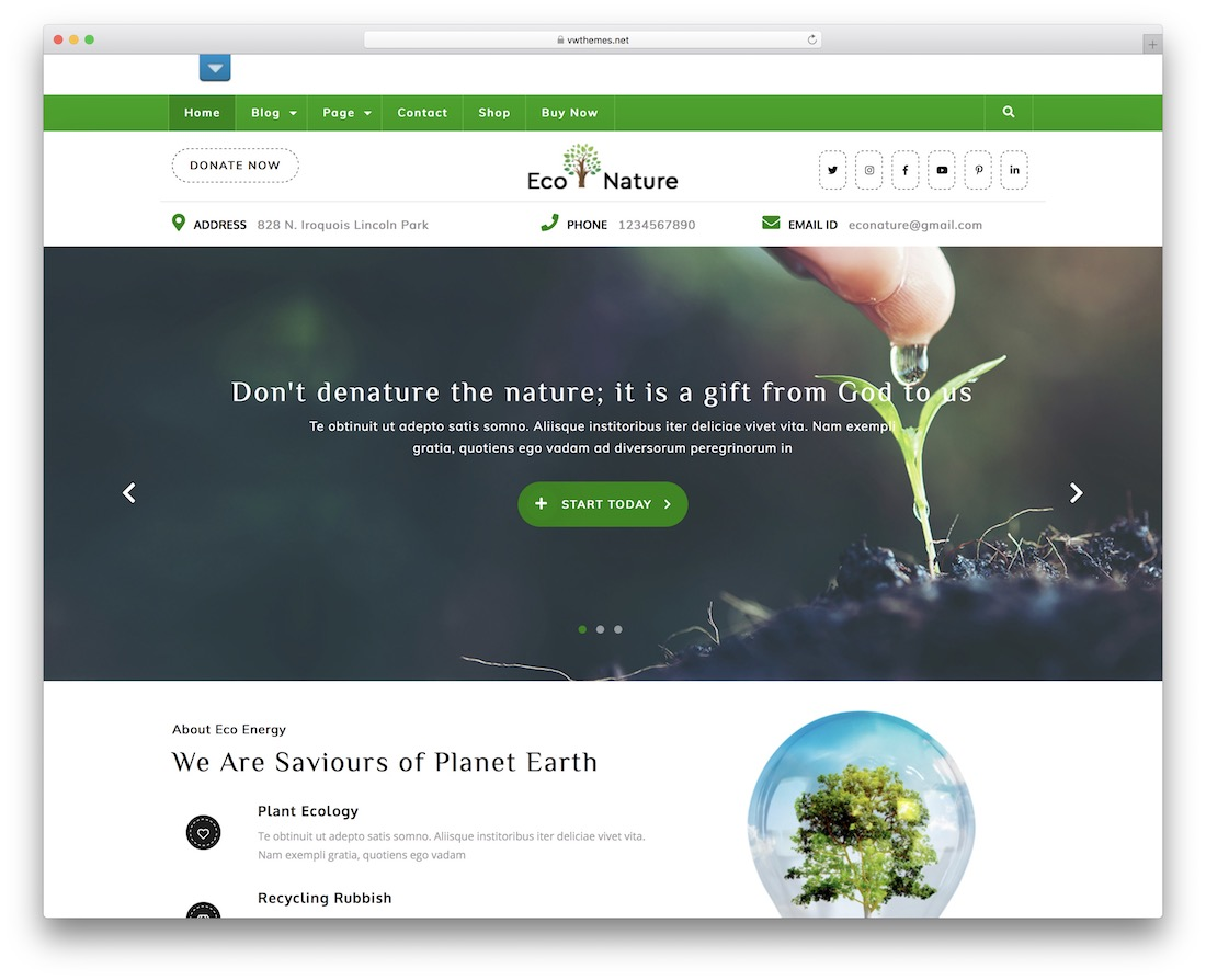 vw eco nature free wordpress theme