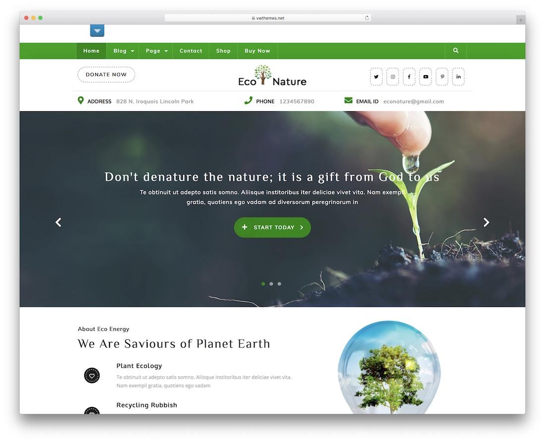 vw eco nature free wordpress theme