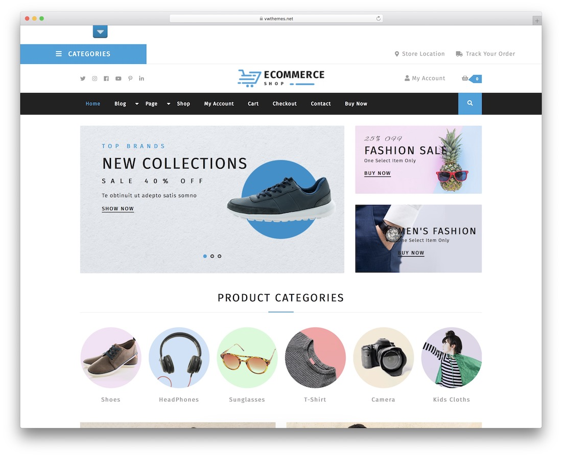 vw ecommerce store free wordpress theme