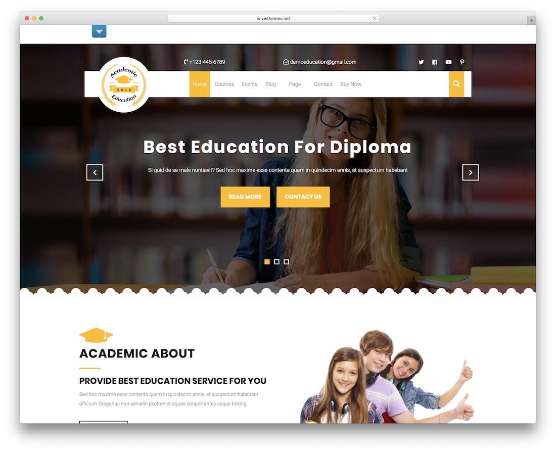 vw education academy free wordpress theme