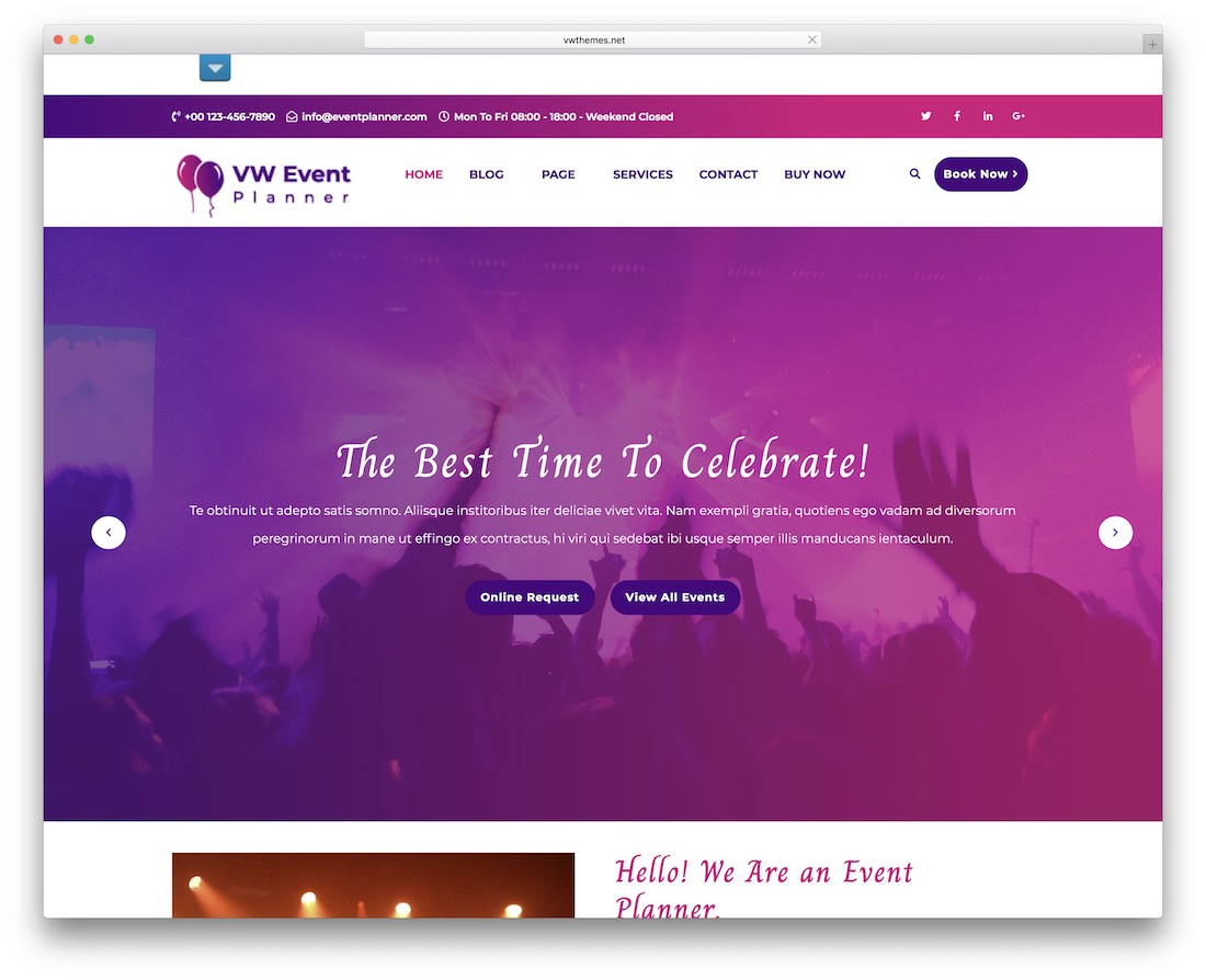 vw event planner free wordpress theme