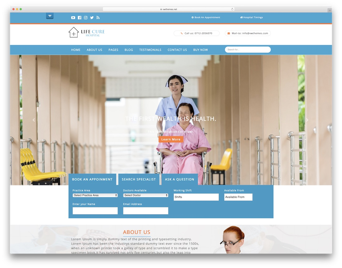 vw hospital free medical website template