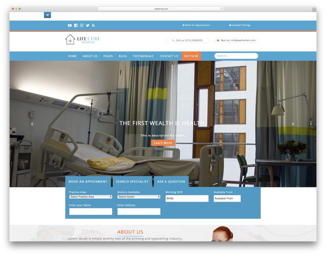 vw hospital lite free medical wordpress theme
