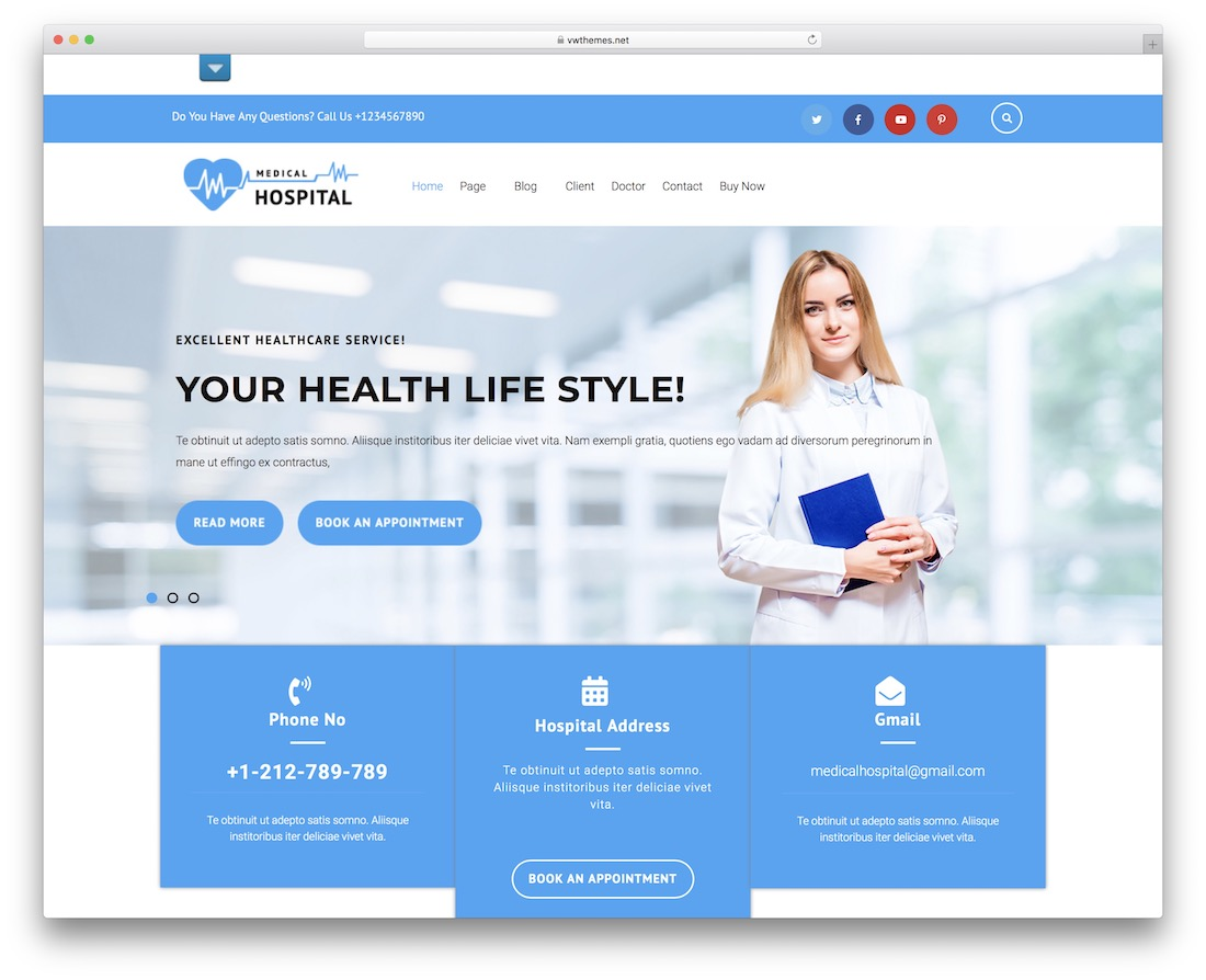 vw medical care free wordpress theme