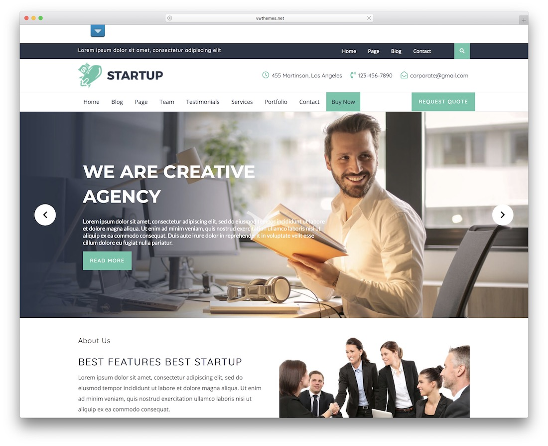 vw startup free wordpress theme