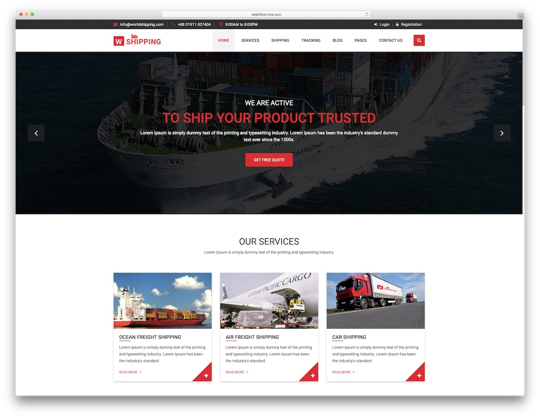 w-shipping multipurpose website template