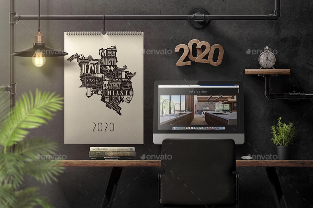 wall calendar interior mockup