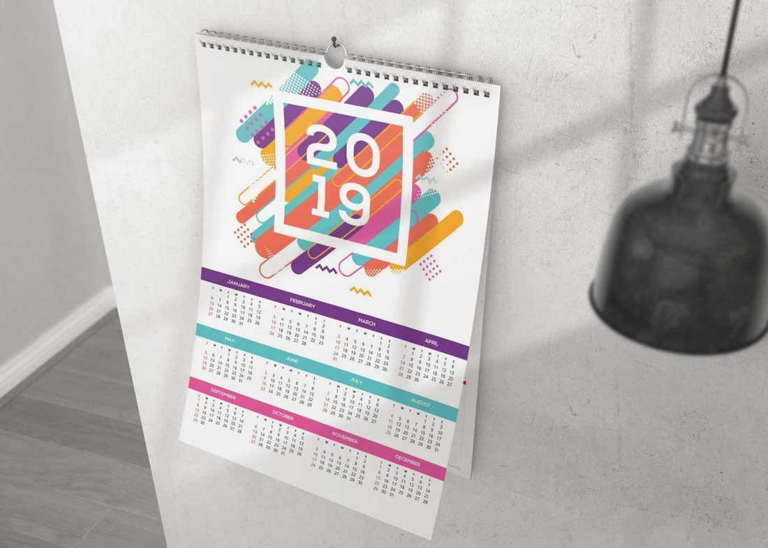 wall calendar psd mockup