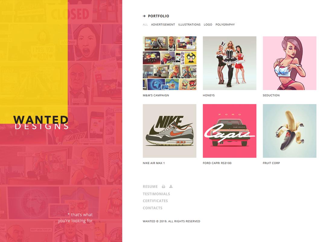 Wanted - A Vibrant Personal Portfolio, Blog and CV WordPress Theme