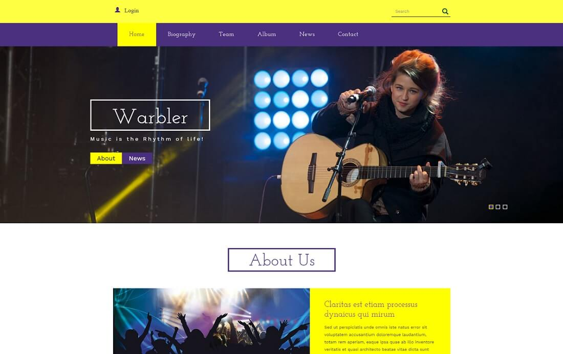 warbler free music website template