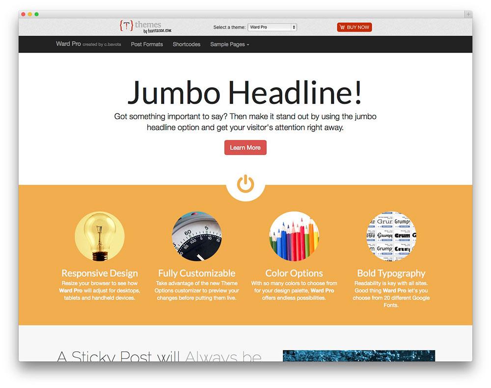 50 best responsive wordpress themes 2017 colorlib ward customizable theme