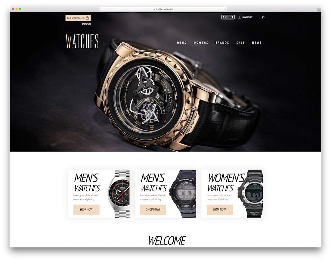 watches free bootstrap ecommerce website template