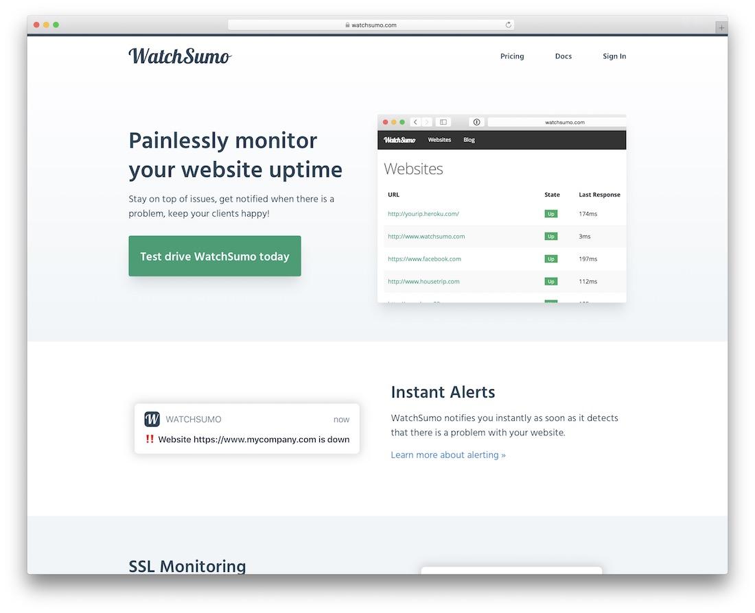 watchsumo website monitoring tool