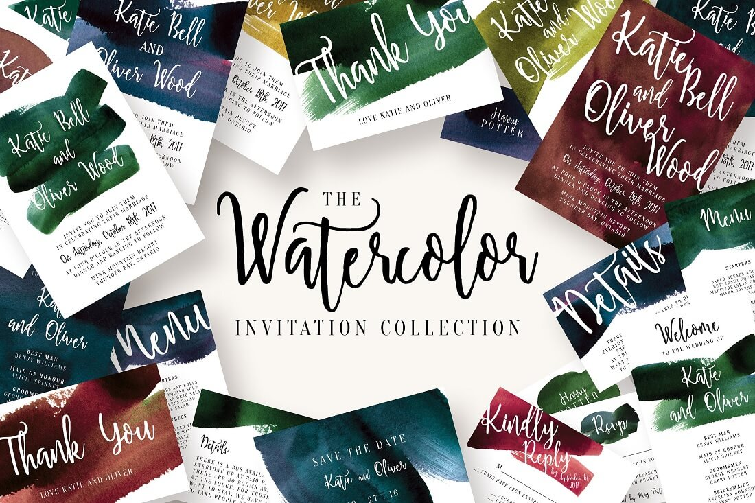 watercolor invitation collection