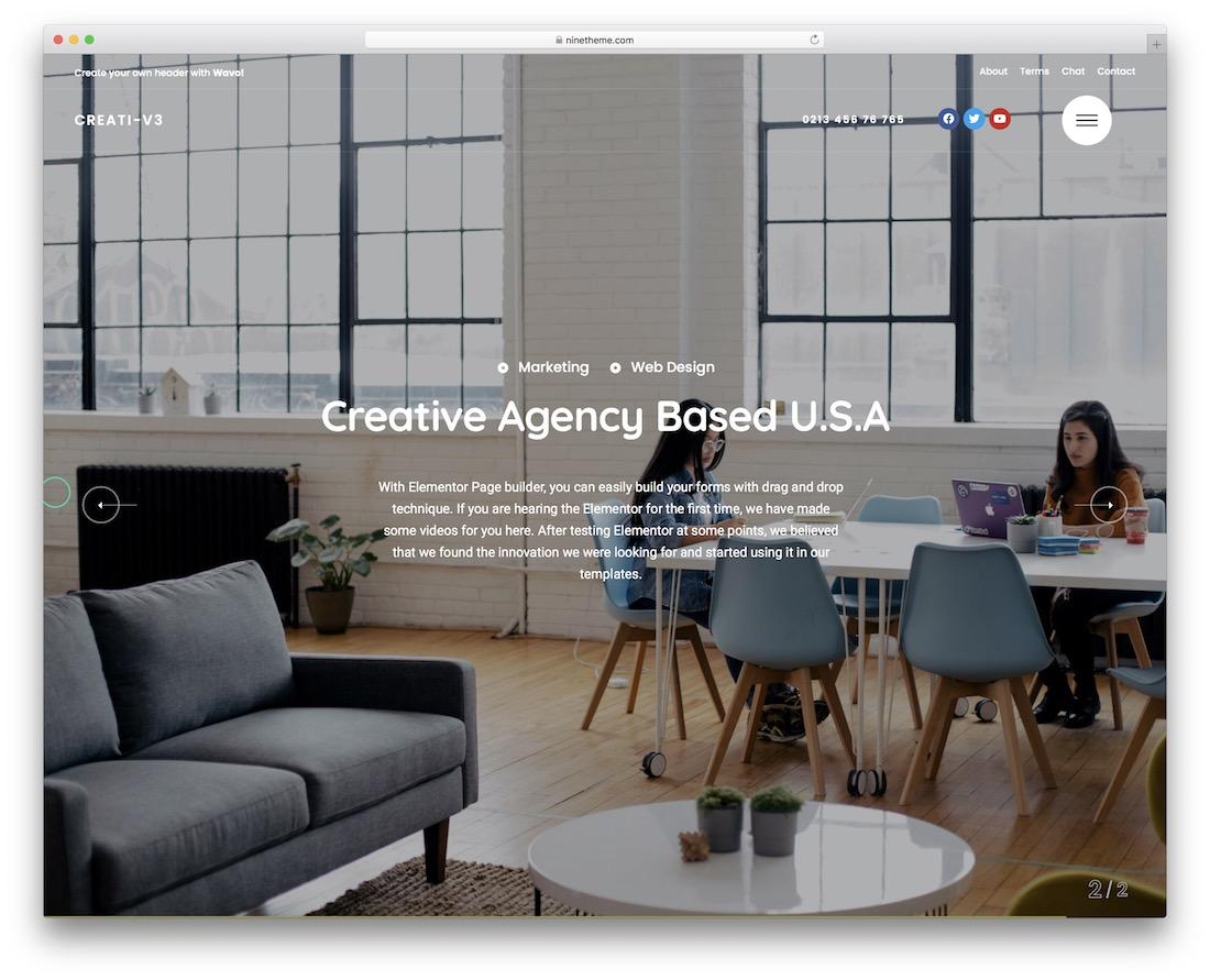 wavo creative agency wordpress theme