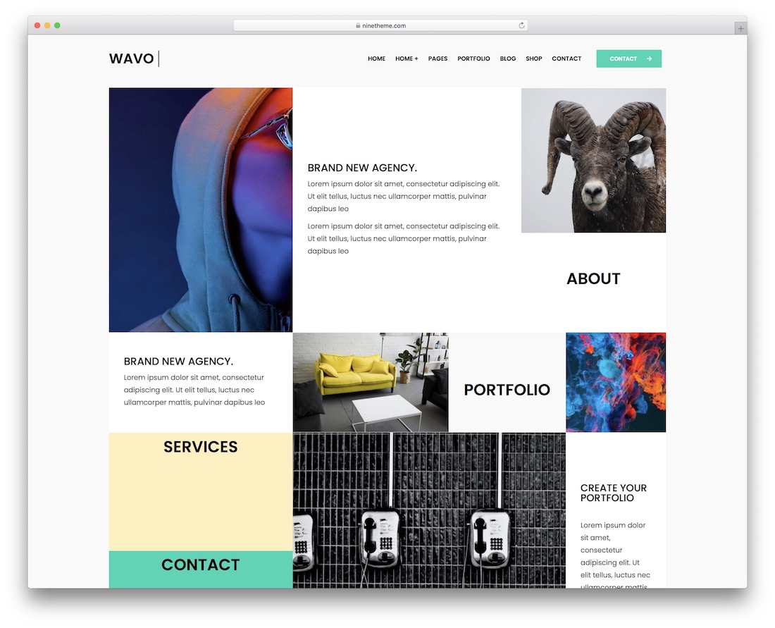 wavo portfolio website template
