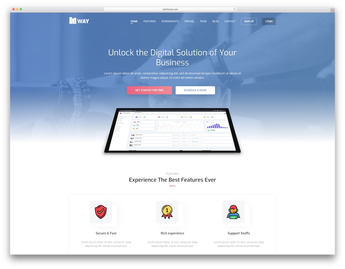 way technology website template