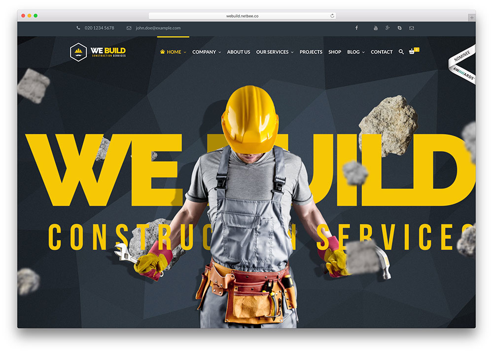 46 best construction company wordpress themes 2018 colorlib for Build best construction