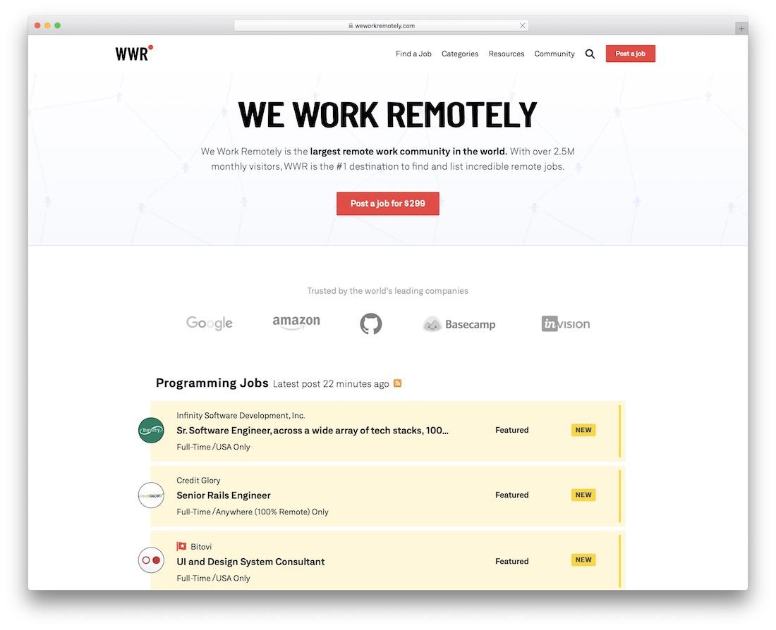 we work remotely tech startup job board