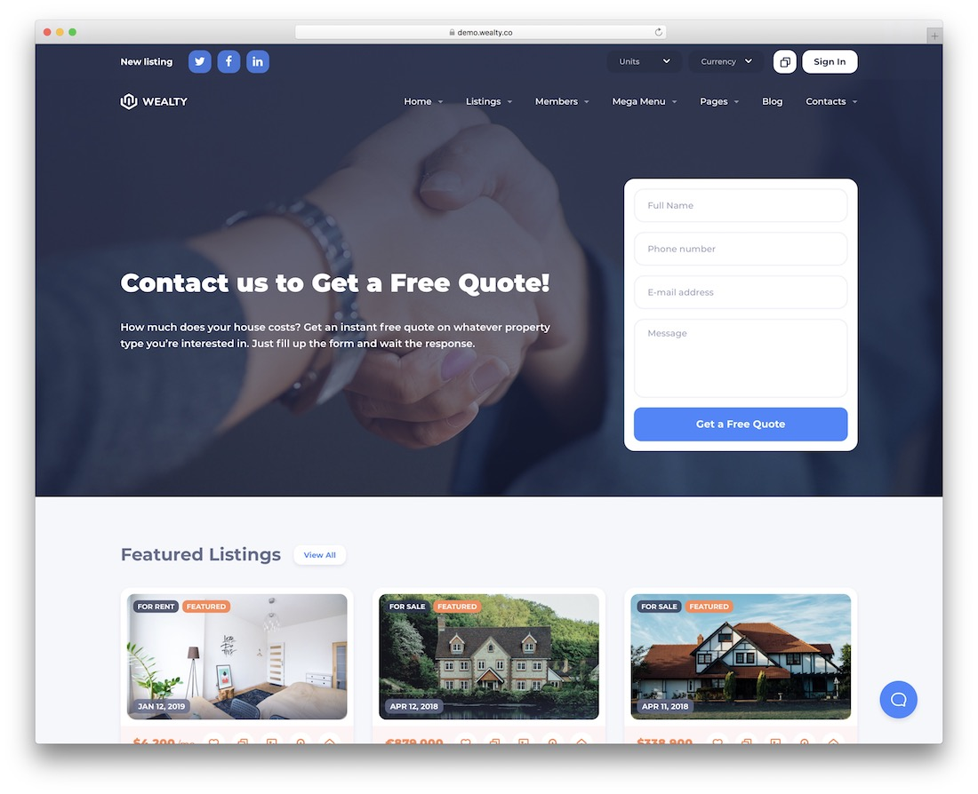 wealty lead generation wordpress theme
