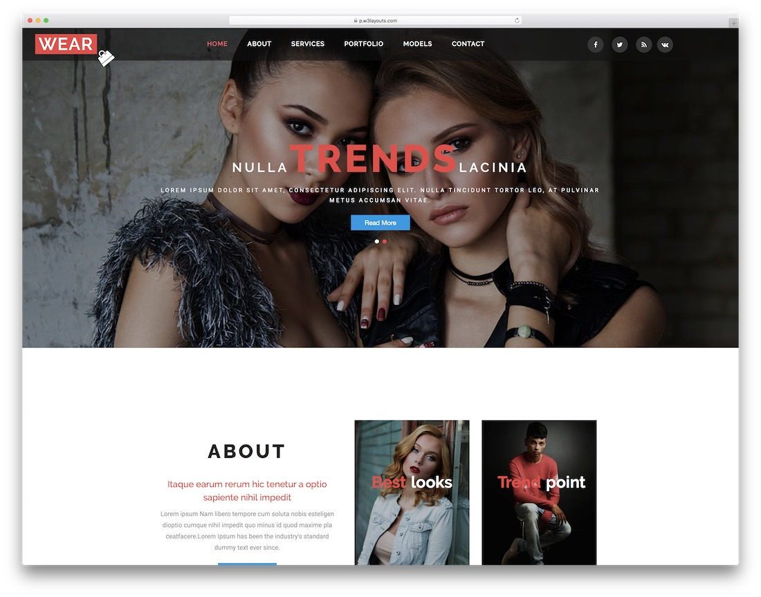 wear free fashion website template