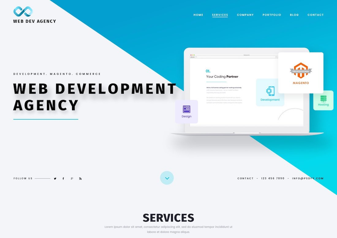 web dev agency one page website psd