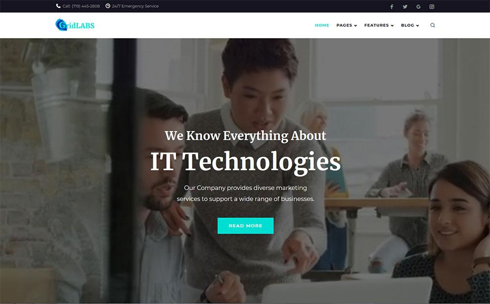 GridLabs - IT Technologies Company Responsive WordPress Theme