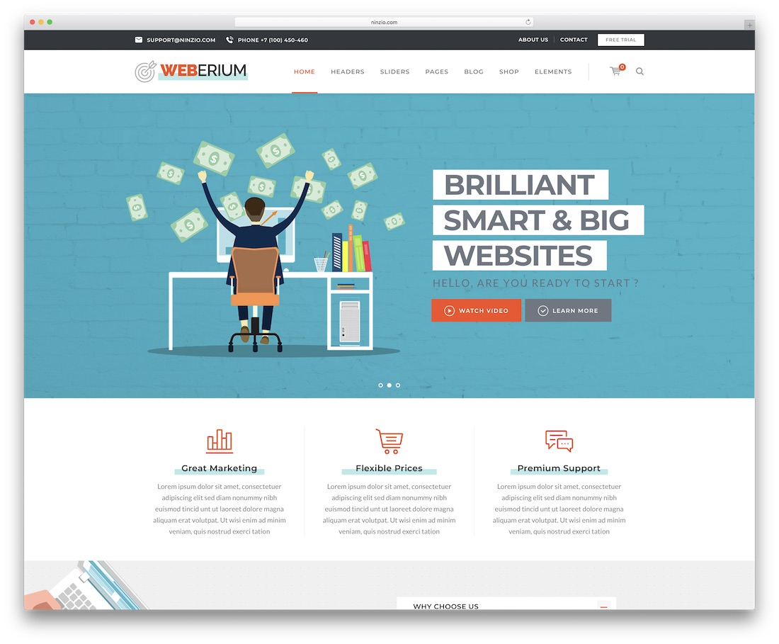 weberium digital agency wordpress theme