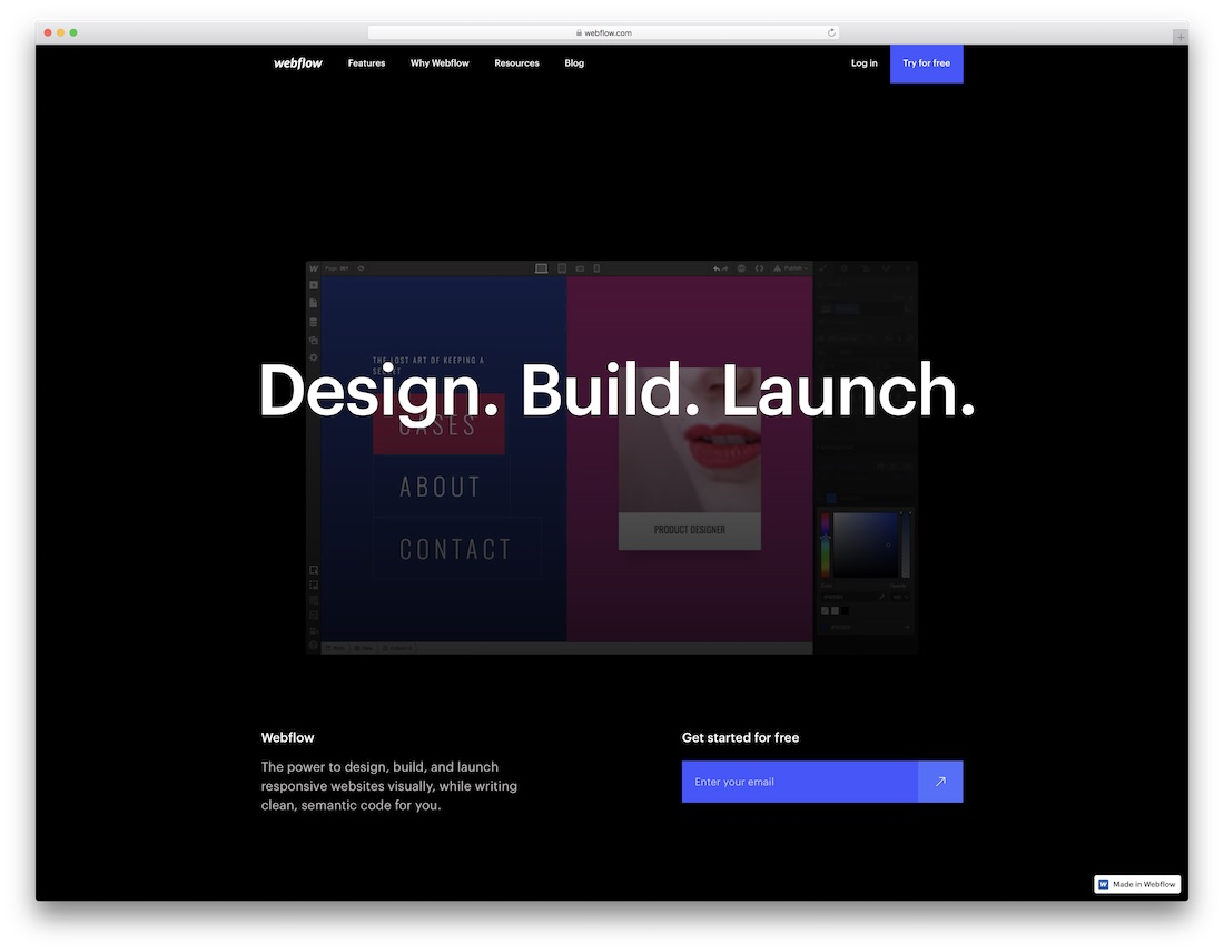 webflow free personal website builder