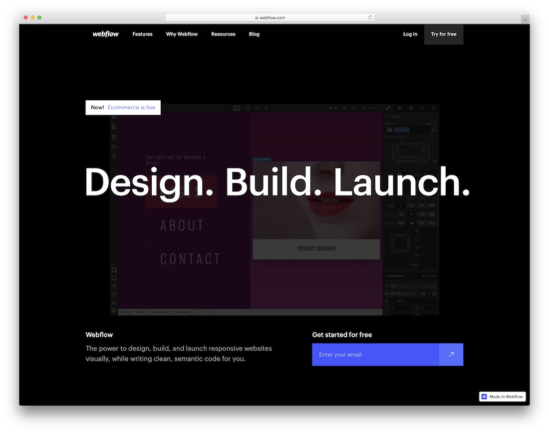 webflow free website builder