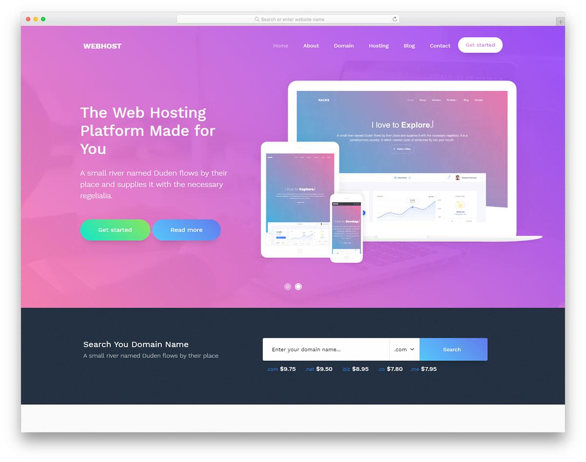 Скачать бесплатно html шаблон Webhost