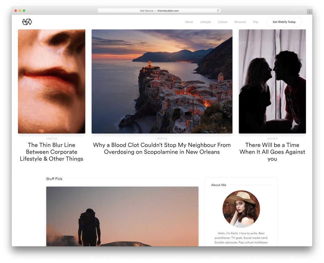 webify blog website template