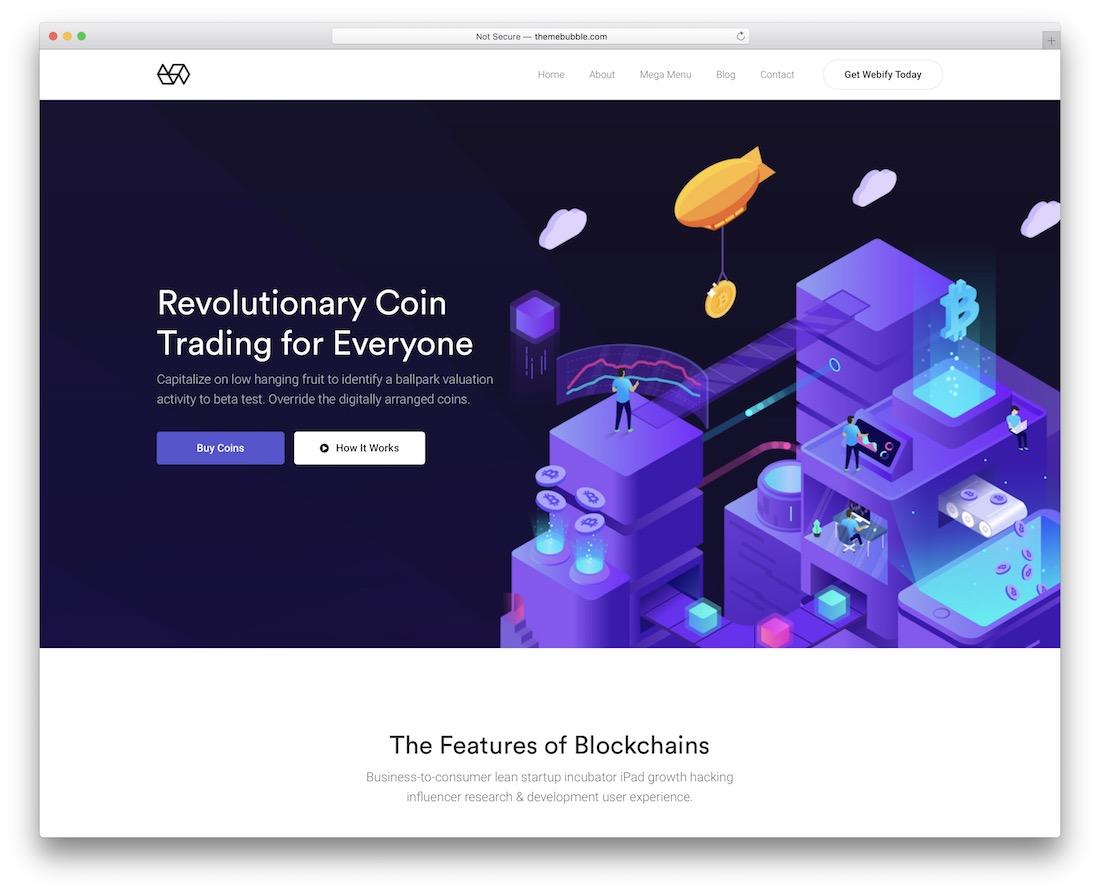 webify financial wordpress theme for cryptocurrency