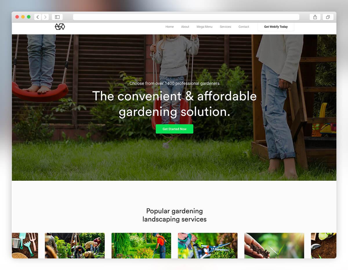 webify gardening landscaping wordpress theme