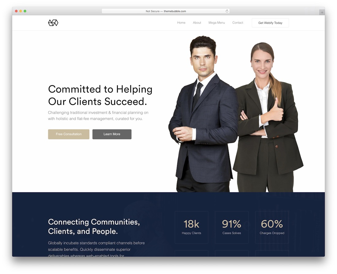 webify lawyer website template