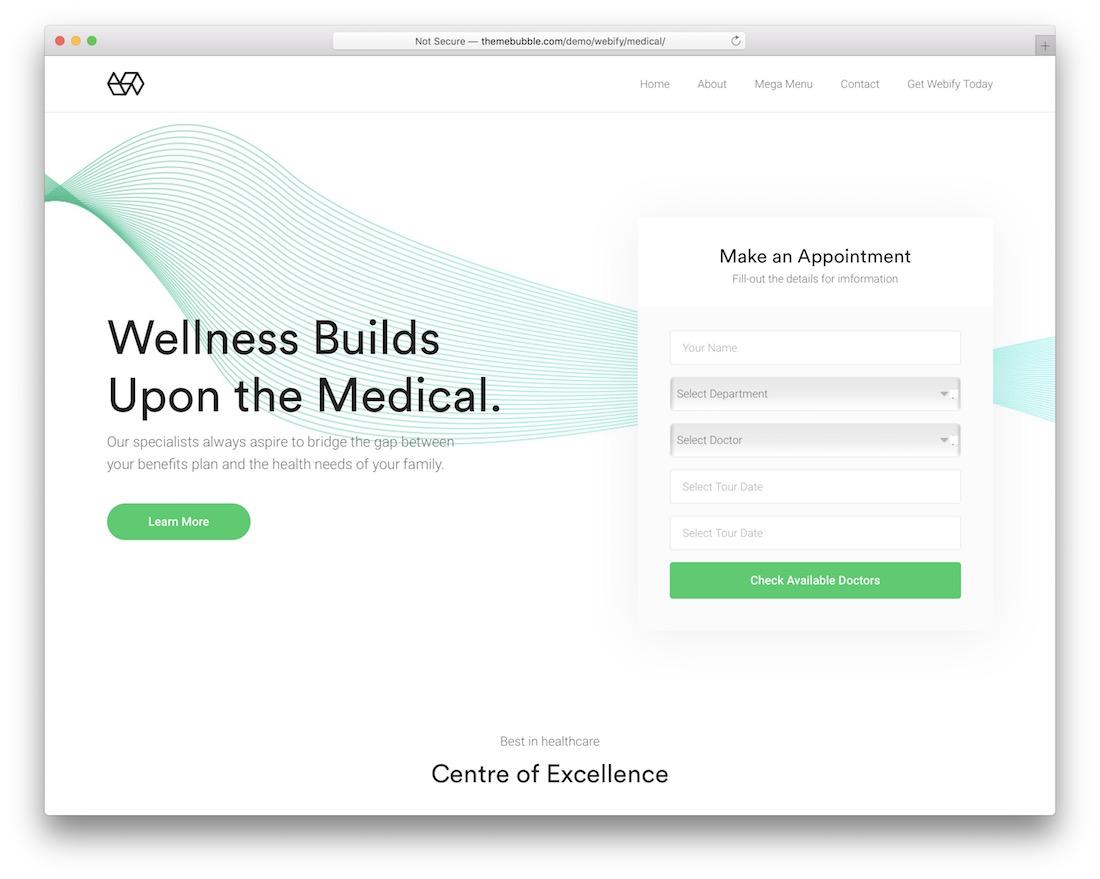 webify medical website template