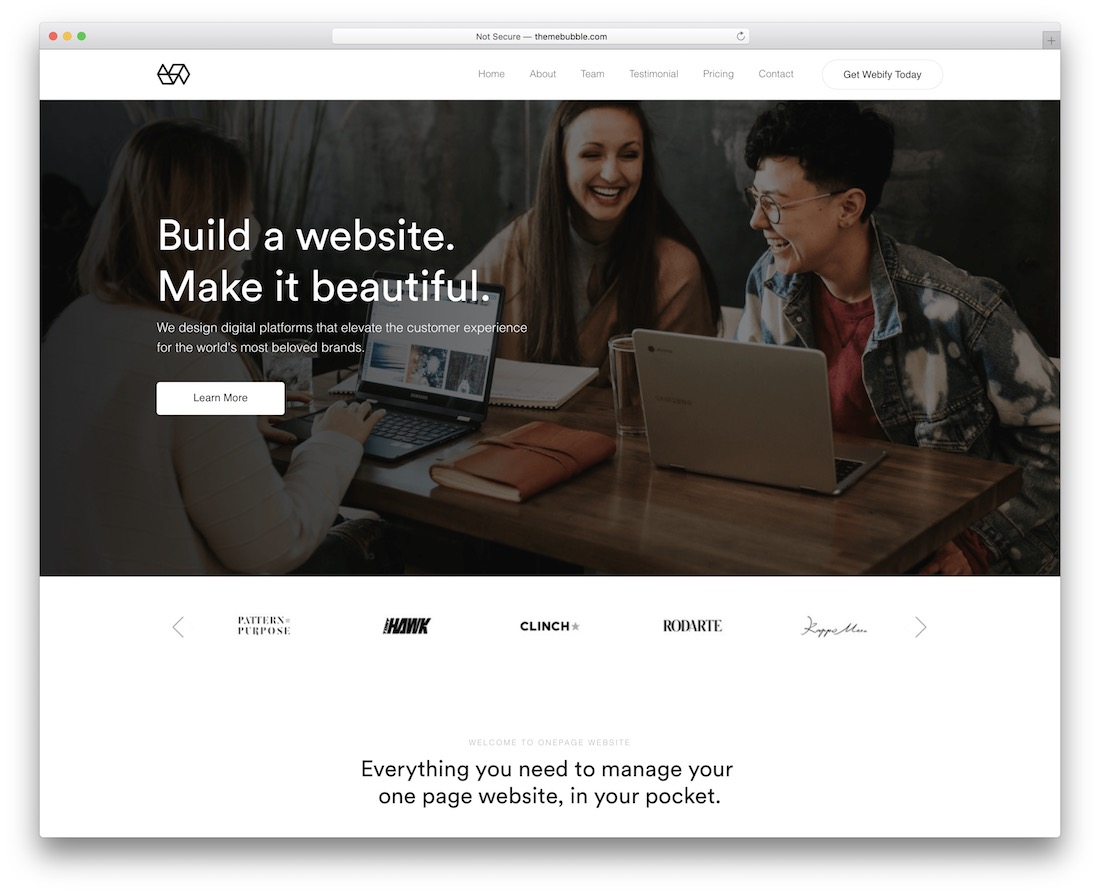 webify one-page business theme