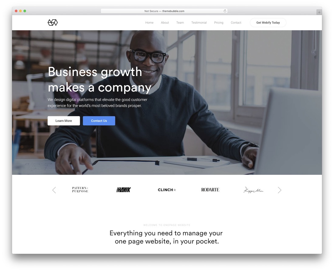 webify one page website template
