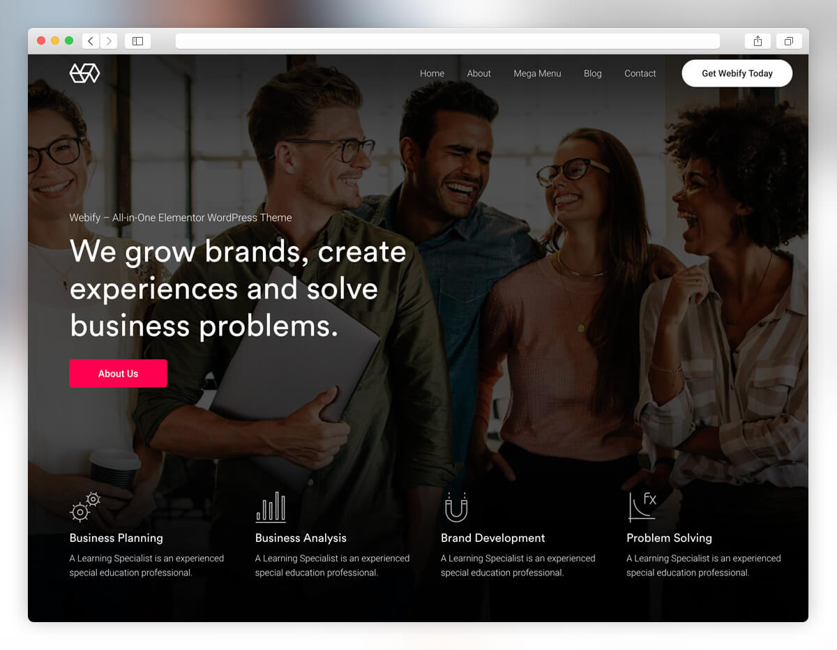webify startup wordpress theme
