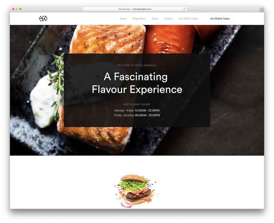 webify wordpress food blog theme