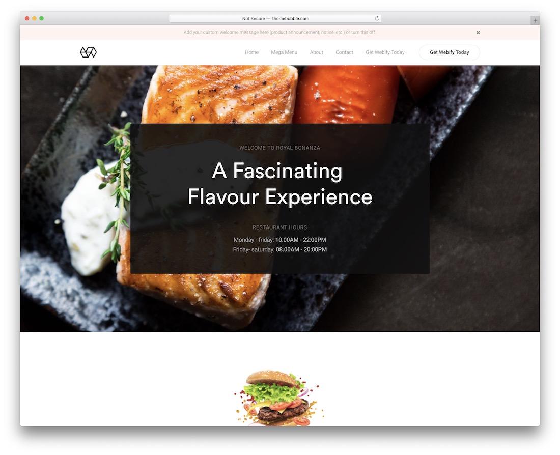 webify wordpress restaurant theme