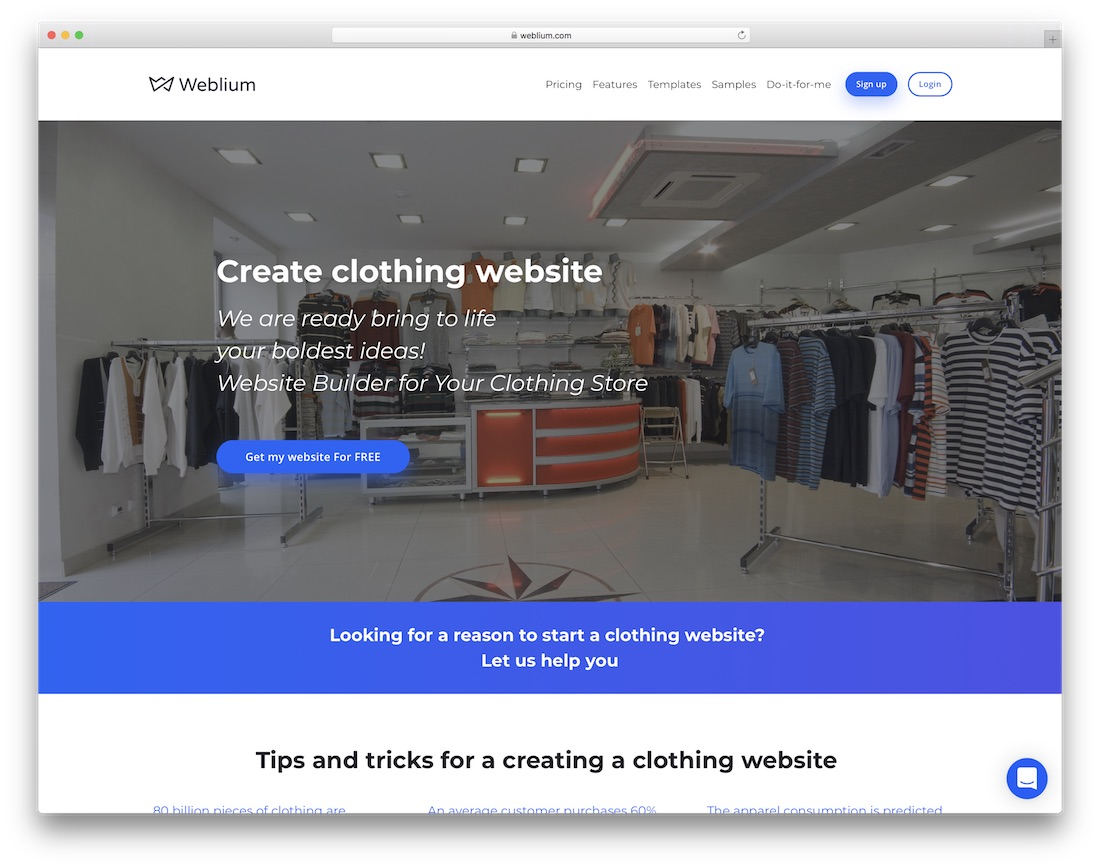 weblium clothing website builder