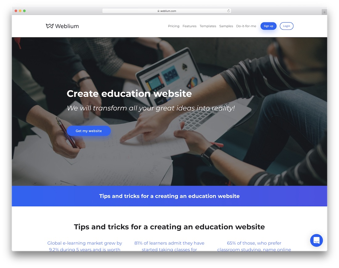 weblium education website builder