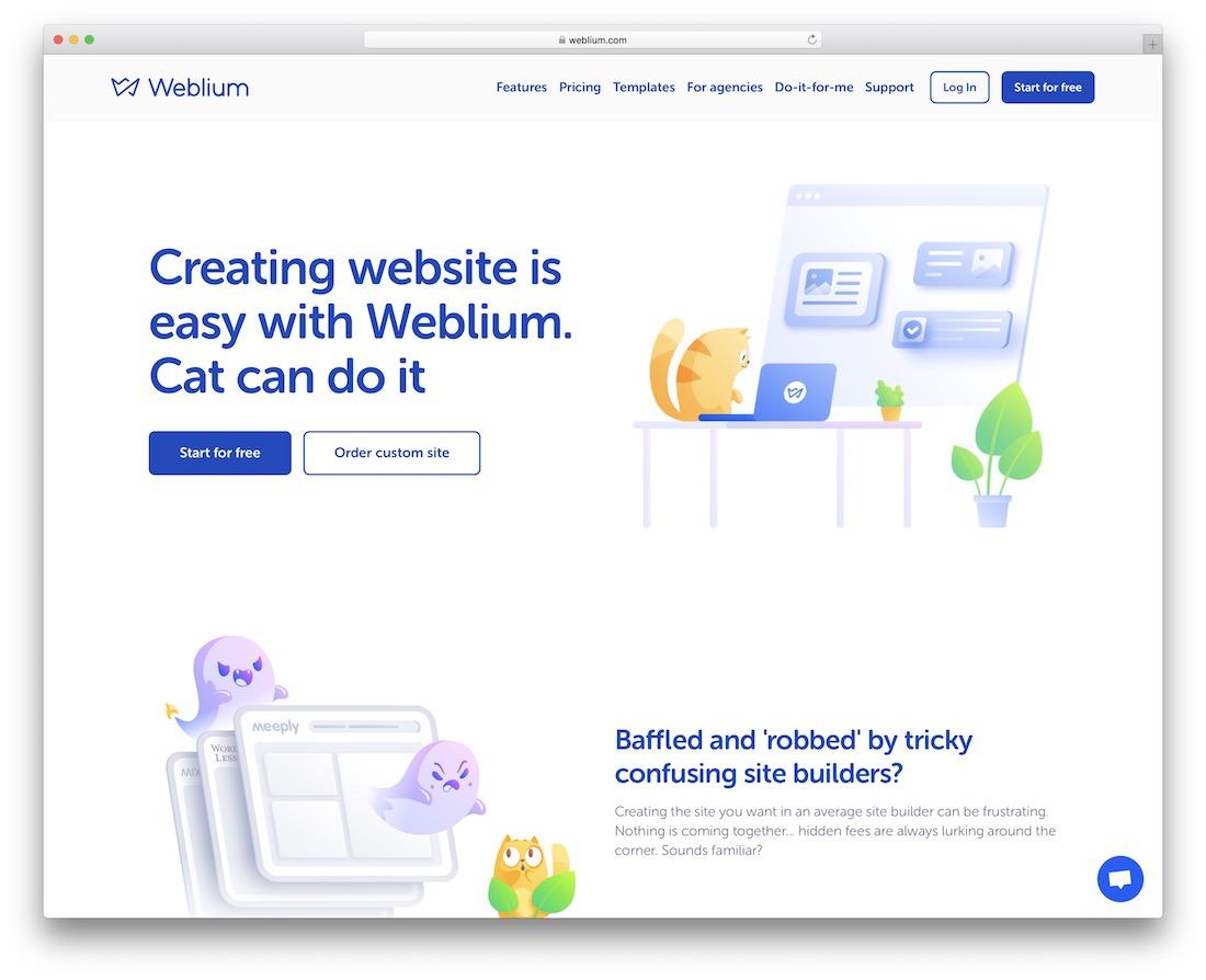 weblium free one page website builder