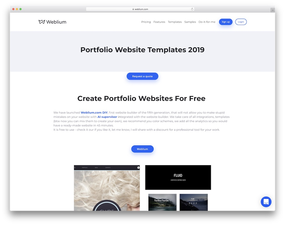 weblium free portfolio website builder