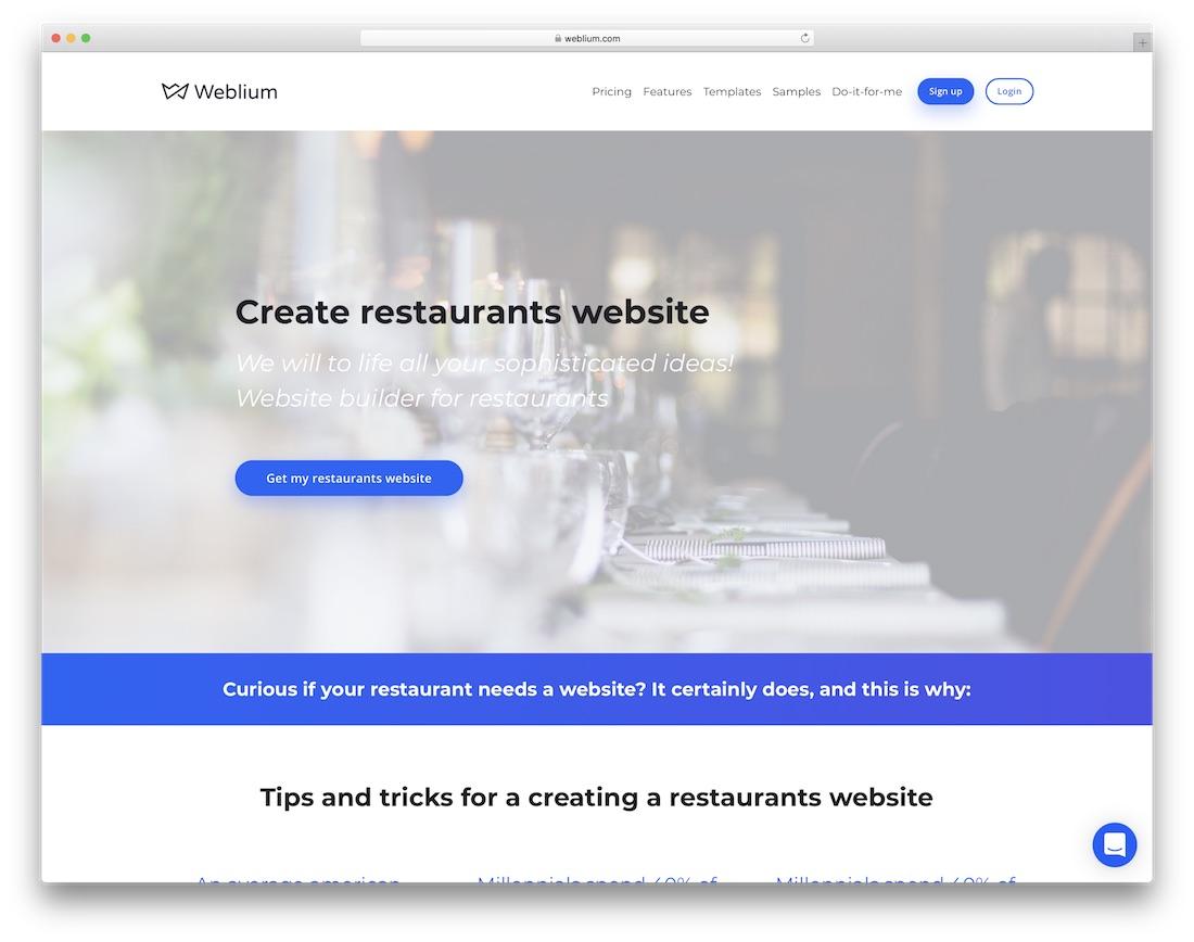 weblium restaurant website builder