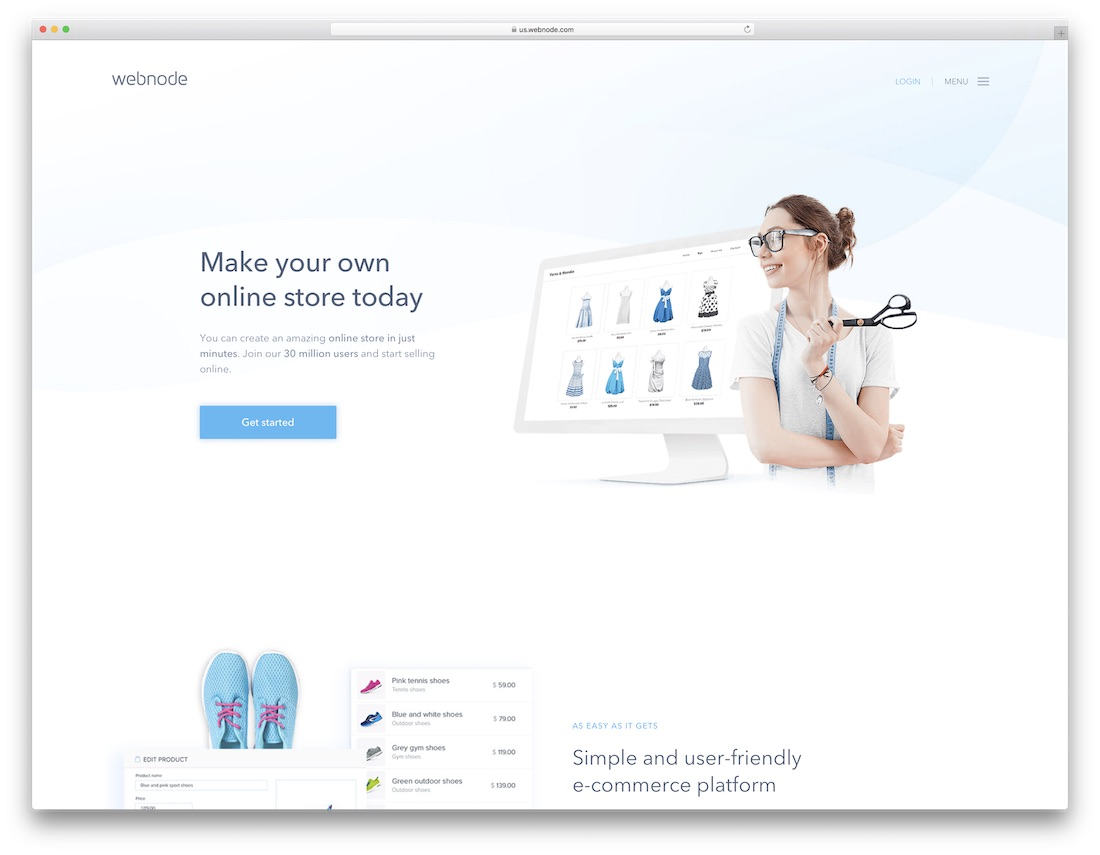 webnode website builder for online clothing store